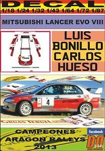 Sticker Mitsubishi Lancer Evo Viii M. Luis Bonillo Champion d'Aragon 2013 (01)