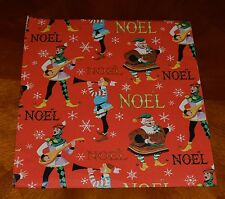 Vintage CHRISTMAS WRAPPING PAPER GIFT WRAP ELVES ELF 1950's MID-CENTURY