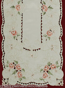 Spring-Embroidered-Pink-Rose-Daisy-Floral-Table-Runner-Cloth-15x52-034-3868-Doily