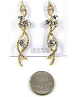 Gold Earrings With Clear Stones