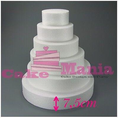 FORME IN POLISTIROLO BASE TONDA VARI DIAMETRI ALTEZZA 7,5 PER TORTE Cake Design