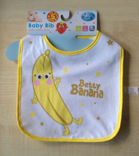First Steps Fruit Pattern Cotton Front Bibs With Velcro Fastener New UK SELLER