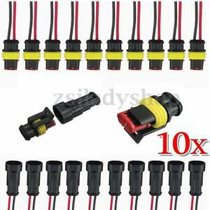 10-Kits-2-Pin-Way-Sealed-Waterproof-Electrical-Wire-Connector-Plug-Socket-Kit