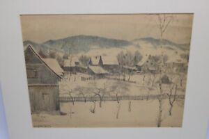 Gustav-Mueller-Aquarell-Verschneiter-Garten-in-Oberlind-1944