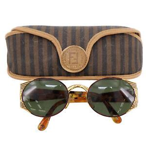 FENDI-FF-Logos-Sunglasses-Gold-Brown-Eye-Wear-Vintage-Italy-Authentic-Z795-W