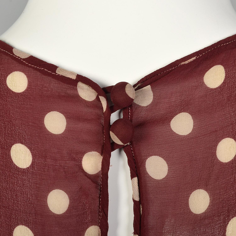 XXS 1930s Red Dress White Polka Dot Sheer Silk Ch… - image 7