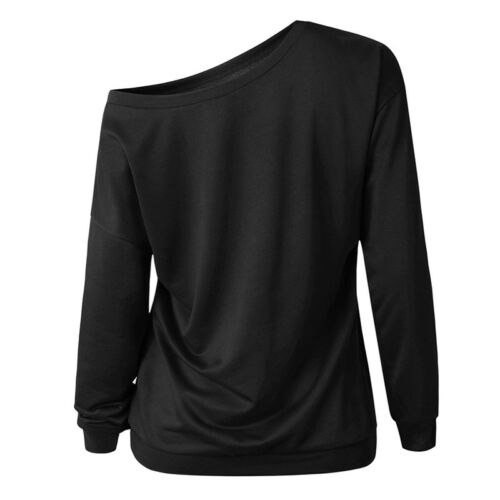 Pull Femmes Manches Longues Pull Sweatshirt Sweater Pull One Shoulder Jumper Top