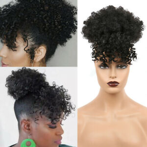 High-Puff-Afro-Kinky-Curly-Hair-Bun-with-Bangs-Synthetic-Clip-in-Hair-Extensions