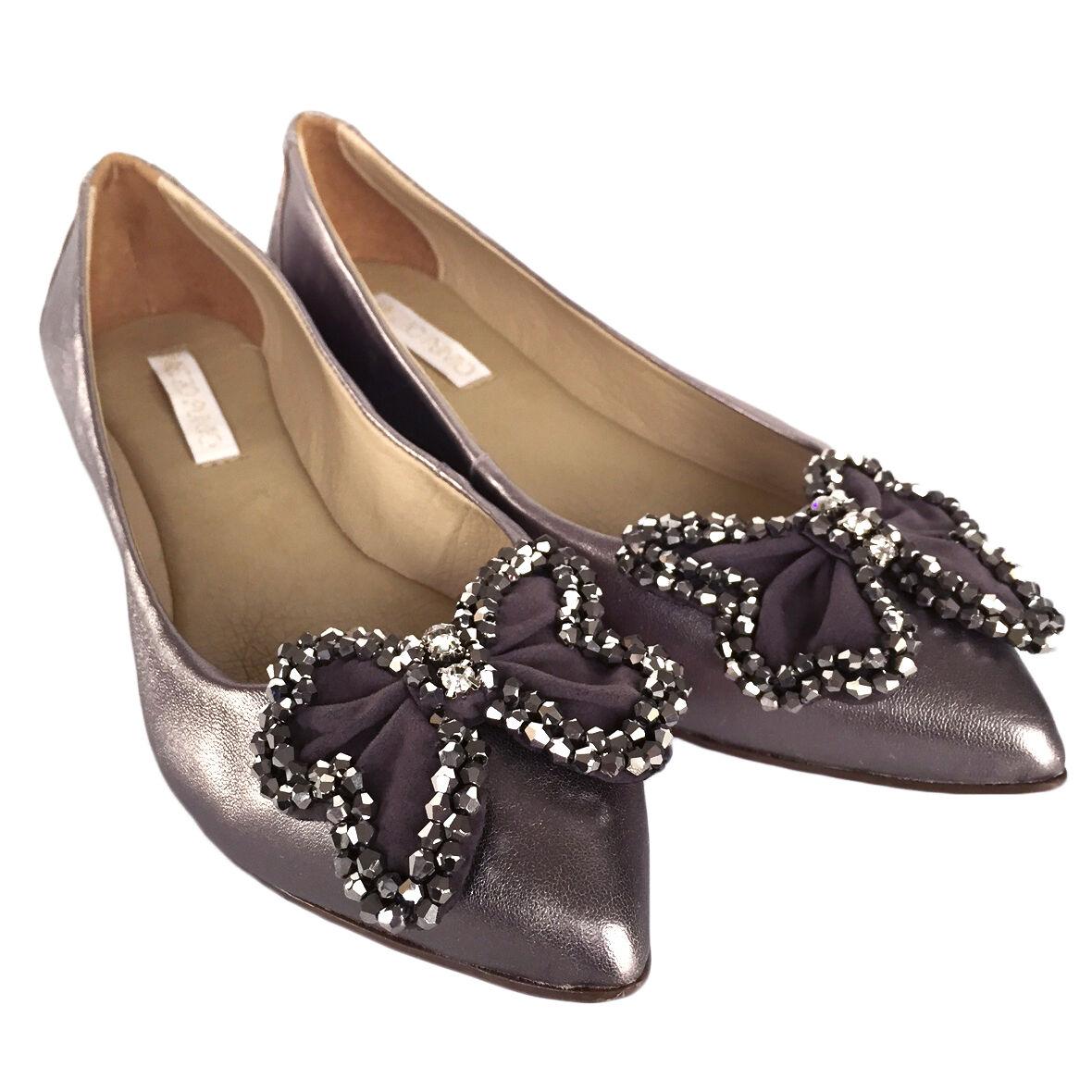 MyBrazilianSchuhes Damenschuhe Grau Silver Leder Ballet Flats Größe 5 6 7 8 9 10