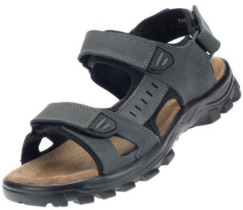 Herren Sandale Outdoor Trekking-Sandalen Leder Freizeit Schuhe Dunkelgrau 17025