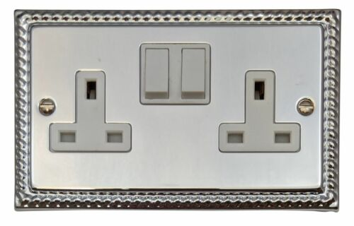 G/&h MC10W monarque avec Chrome Poli 2 Gang Double 13 A Switched Plug Socket