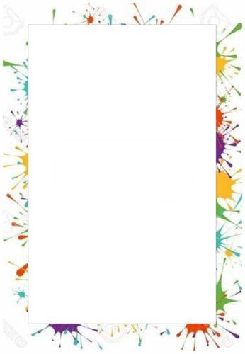 20 Blatt Briefpapier Motivpapier mit mehrfarbigem Rahmen 100g//qm