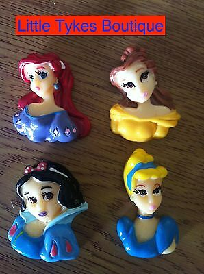 Resin Flatbacks ... !! WAS £1.99 NOW 99P !!! 4 x Disney Princess 3D