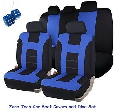Zone Tech Universal Blue/Black Racing Style Car Seat Covers and Dice Set