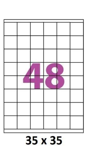100  planches étiquettes 35 x 35 mm autocollantes 45 étiquette adhésive par A4