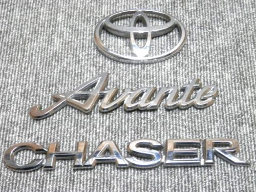 1996 2001 Toyota Chaser JZX100 Avente 3Piece Silver Chrome Emblems Set JDM OEM