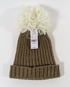 NEW New York & Company Style 3301 Taupe Oversized Pom Pom Knit Beanie Hat One Sz