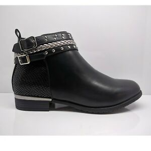 bd76c686134 Details about WOMENS LADIES BLACK ANKLE BOOTS CASUAL FLAT LOW HEEL BLOCK  BOOTIES SHOES SIZE