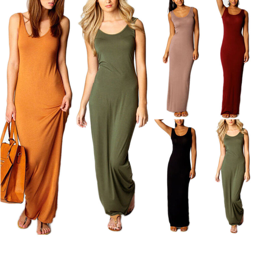 7219969c2d8 Details about Women Extra Long Camisole Dress Slim Tank Top Length Stretch  Beach Dress
