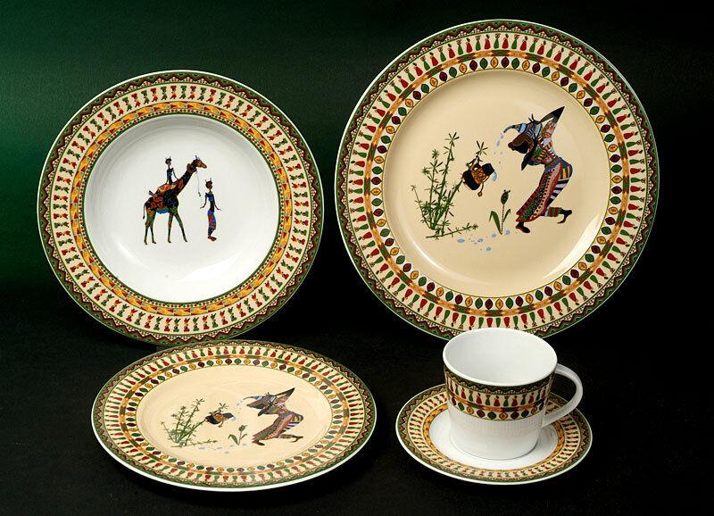 Kasva Afrique décor Combi service 12 personnes 60 pièces porcelaine vaisselle set NOUVEAU