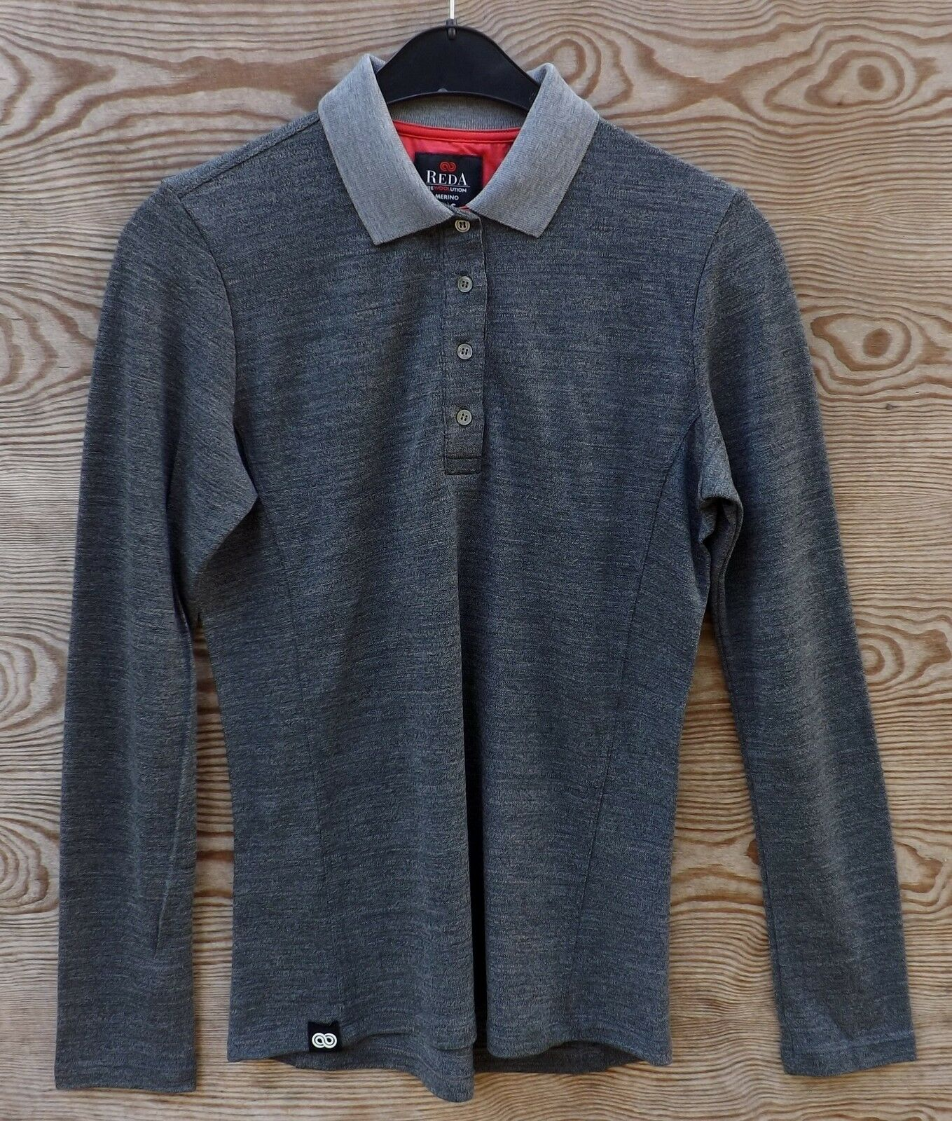 rojoa rewoolution par-mujer polo Long sleeve 210, charcoal, lana merino, talla s