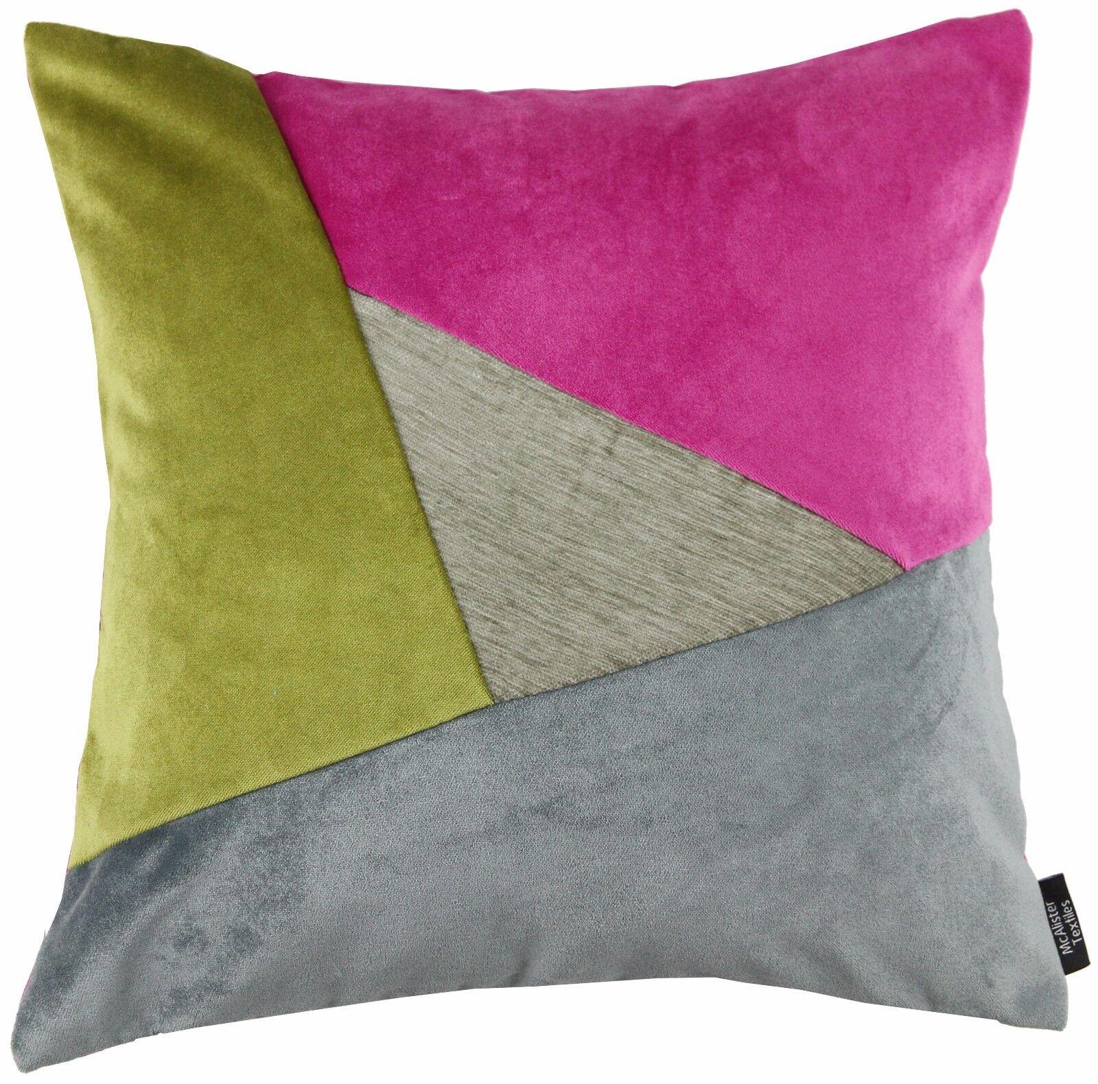 McAlister Textiles Triangolo Velluto Patchwork Grigio, Fucsia rosa rosa rosa e verde Cuscino cee4c9