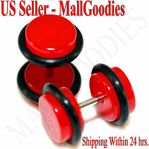 2051-Red-Color-Fake-Cheater-Illusion-Faux-Ear-Plugs-16G-Bar-0G-8mm-2pcs