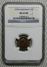 *NGC MS62* 1933H - Sarawak - 1/2 Cent Charles Vyner Brooke #CAFF