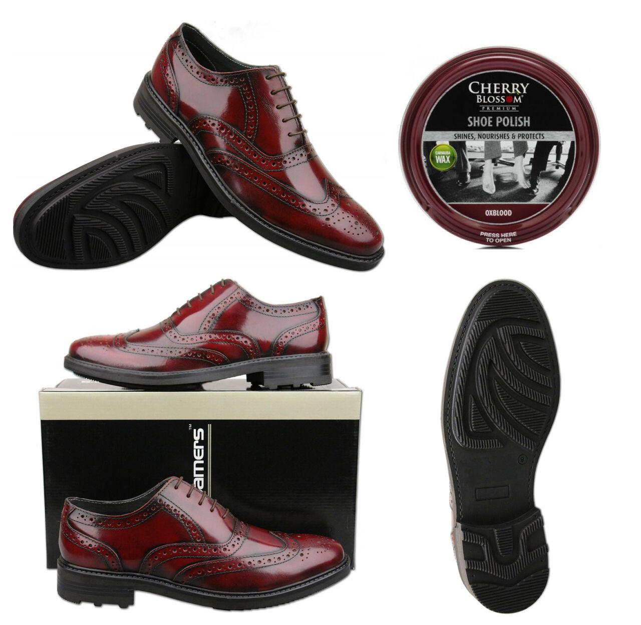 Mens Leather Oxblood Brogues con opzionale SCARPA POLACCO Taglia 6 7 8 9 10 11 12 | Ben Noto Per Le Sue Belle Qualità  | Scolaro/Ragazze Scarpa