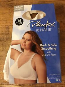 27d5f10902 Details about New PLAYTEX 18 HOUR Wire Free BRA Back   Side Smoothing 4049  White 44D Cool Dri