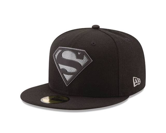 f17e7735610 Superman Logo Hexshine Black 7 3 8 Fitted Cap DC Comics Era 59Fifty ...