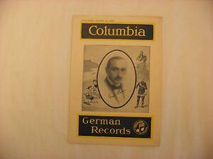 Original Columbia Phonograph Record Catalog German August, 1922 Supplement