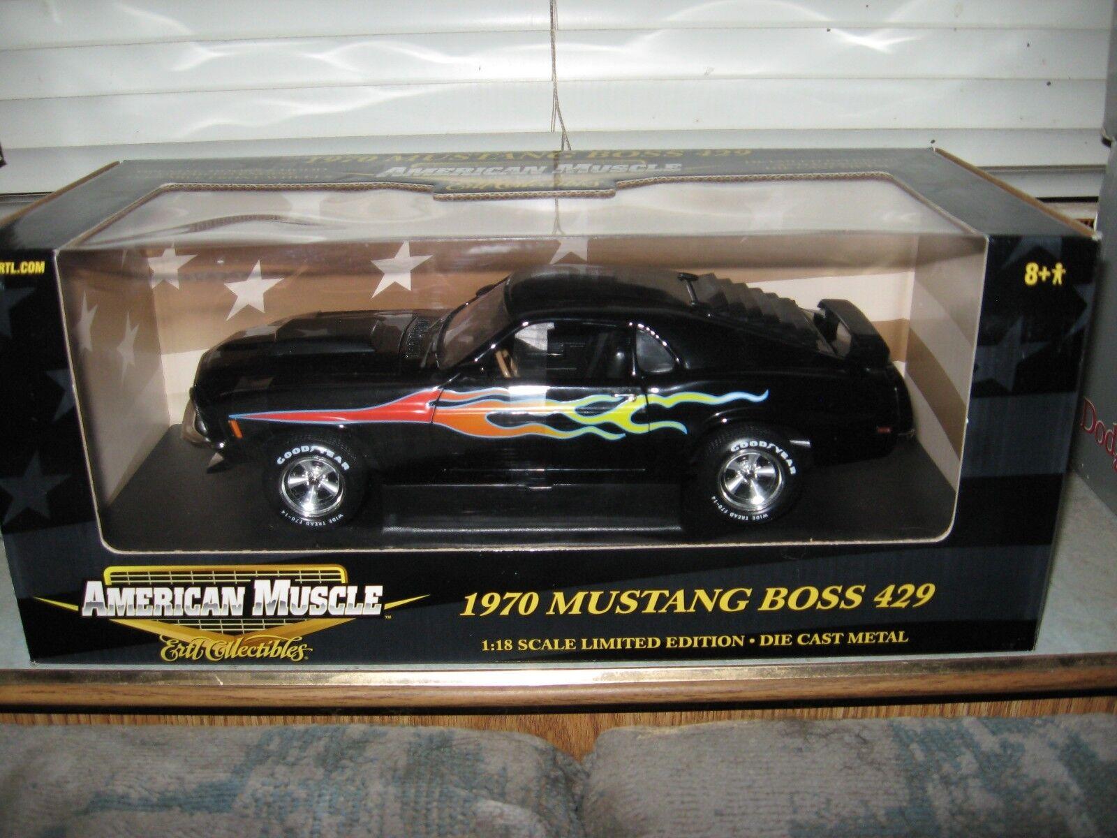 1 18 Ertl MUSTANG 1970 BOSS 429 Raven Noir avec flammes Texas  BOSSY  plaques