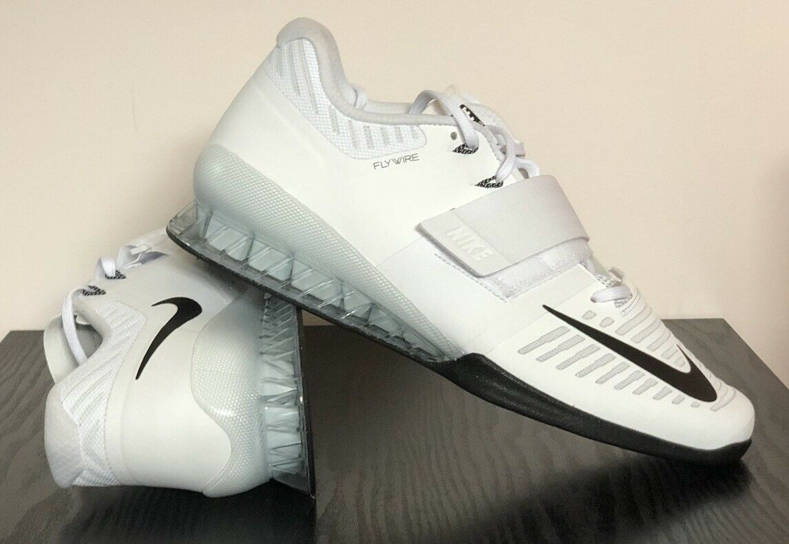 Nike Romaleos 3 Weightlifting Shoes White Volt Black 852933-100 - Men's 14 - New