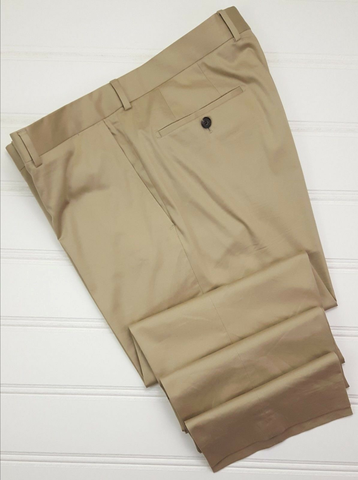 Hugo Boss Pants 37x35 Beige Flat Front Trouser Cotton Blend Mens Size Pasini 2