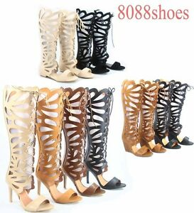 Women-039-s-Lace-Up-Open-Toe-Gladiator-High-Heel-Wedge-Flat-Sandal-Size-5-5-10
