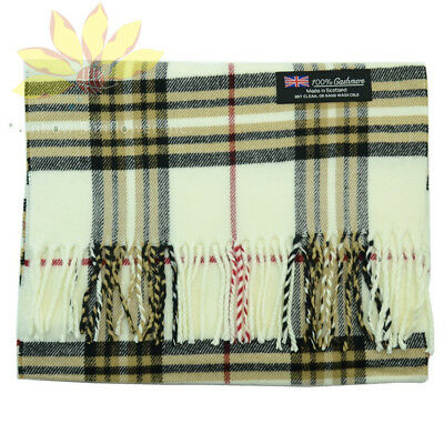 Men Women unisex 100/%CASHMERE Scarf tartan stripe Plaid Wool SCOTLAND Light Gray