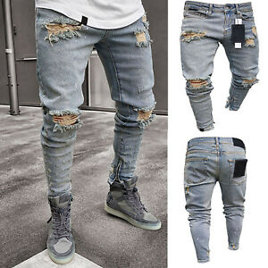 Vintage-Mens-Ripped-Denim-Jeans-Trousers-Distressed-Biker-Slim-Fit-Skinny-Pants