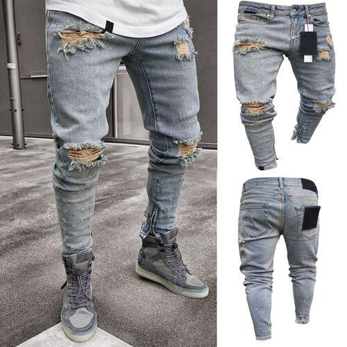 Herren Ripped Distressed Hip Hop Denim Jeans Strech Klassisch Slim Freizeit Hose