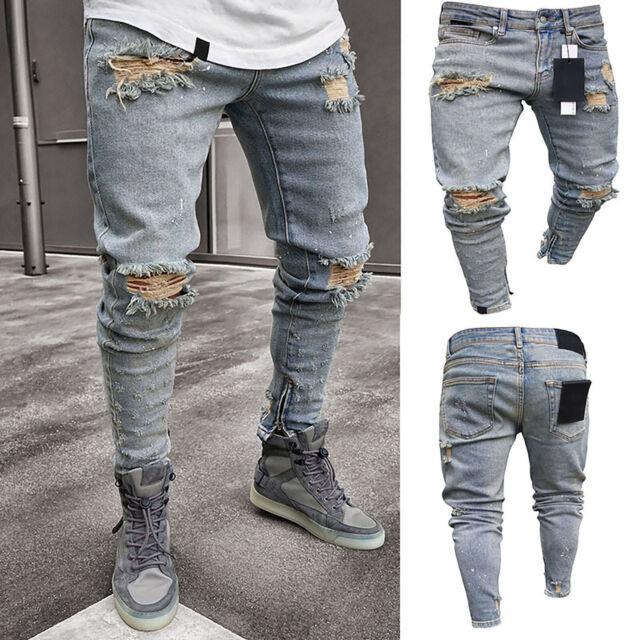 Mens Ripped Skinny Biker Jeans Destroyed Frayed Slim Fit Denim Pants Trousers