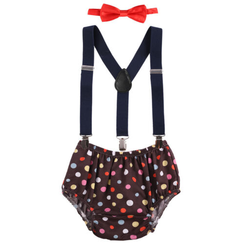 Baby Boys Cake Smash Outfit 1st First Birthday Bloomers Bowtie Suspenders Sets