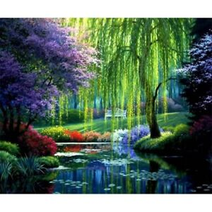 5D-DIY-Full-Drill-Diamond-Painting-Cross-Stitch-Kits-Embroidery-Willow-landscape