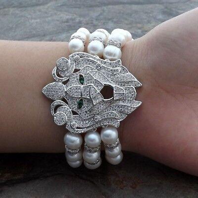 "Fashion Jewelry Bracelets Independent 8"" 3strands White Pearl Bracelet Cz Pave Connector Discounts Sale"