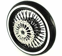 Black 21 3.5 52 Fat Spoke Mammoth Front Wheel Tire Package 08-17 Harley Touring