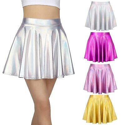 Oyolan Girls Shiny Metallic Flared Mini Skater Skirt Dance Performance Party Skort