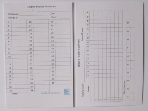 Cricket Umpire Match Cards 55 overs Large Boxes