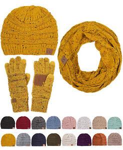 61e1da954f0 CC 3pc Set Trendy Confetti Thick Soft Warm Chunky Beanie Gloves ...
