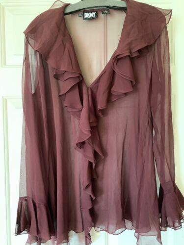 DKNY Wine-Coloured 100% Silk Poet Blouse - Size Sm