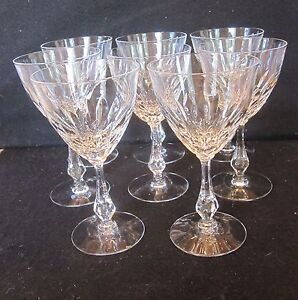 SET 8 GORGEOUS TALL CLEAR CUT CRYSTAL GLASS WINE STEMS WATER GOBLET 8 OZ EUC