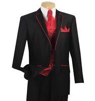 Men's Black Sharkskin 5pc Classic Fit Suit W/ Red Trim & Accessories